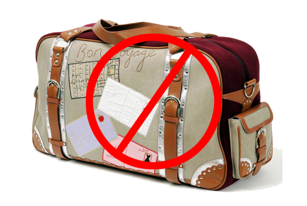чемодан со знаком стоп